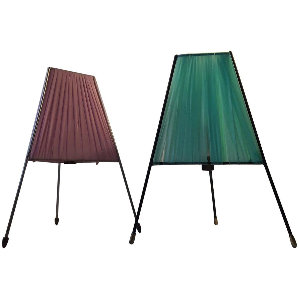 Pair of Italian Modernist Tripod Table Lamps with Brass Feet, 1950s