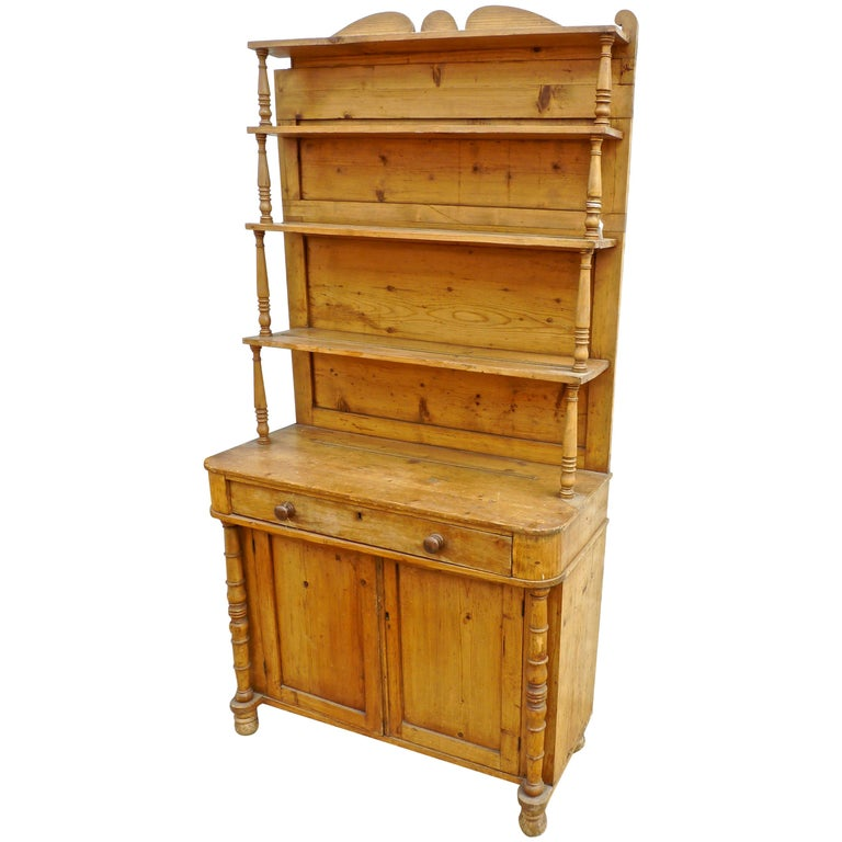 French Open Faced Kitchen Dresser with 3 Shelves, 2 Doors and One Drawer For Sale