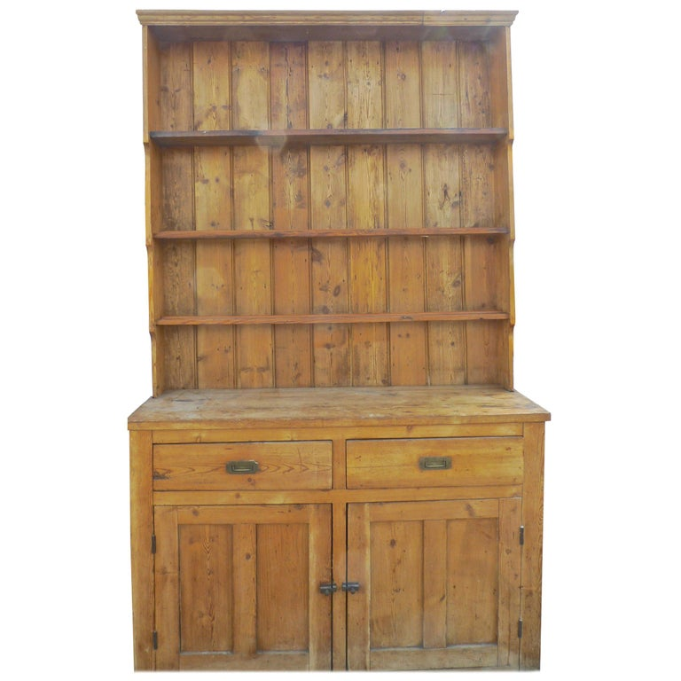 English Two Piece Dresser With Lower Doors Drawers And Three Shelves For