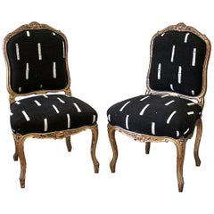 Late 19th Century Giltwood Louis XV Style French Chairs in Vintage Upholstery