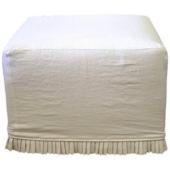 Custom Cube Ottoman Slip Covered in White Belgian Linen with Hand Pleated Ruffle