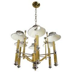 Maison Jansen Style Bouillotte Chandelier in Nickel and Brass by Lightolier