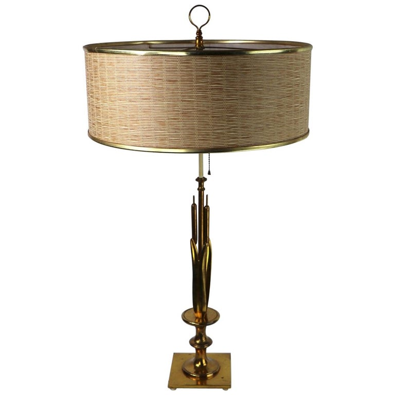 Mid Century Cattail Table Lamp For Sale