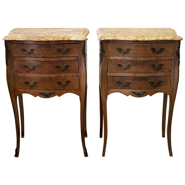 Pair of Vintage French Louis XV Style Wood Nightstands with Marble Tops For Sale