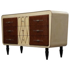 Art Deco Goatskin Maple and Brass Italian Chest of Drawers, 1940
