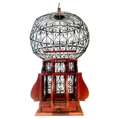 "20th Century Victorian Style Wood and Iron ""Balloon' Hanging Bird Cage"