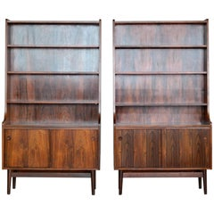 Danish Modern Midcentury Pair of Bookcases in Rosewood by Johannes Sorth