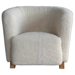 Danish 1940s Otto Schulz Style Club Chair Covered in Beige Lambswool