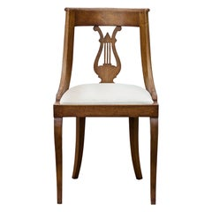 Neoclassical Lyre Back Game Table Chairs, Set of 4
