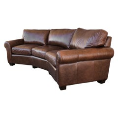 Custom Curved Leather Sofa by Omnia Leather