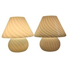 Pair of Murano Glass Mushroom Lamps (Large Version)