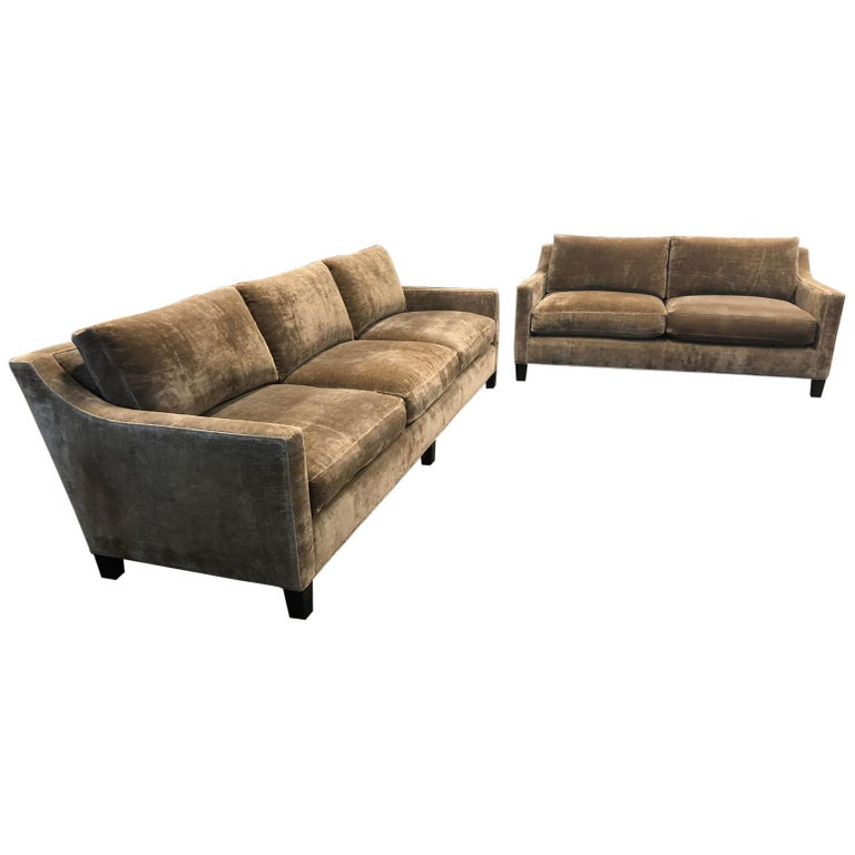 Cameron Collection Lower Park Avenue Loveseat and Sofa For Sale