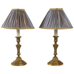 French 18th Century Style Pair of Gilt-Bronze Candlestick Lamps