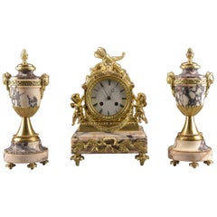 Marble Clock with Two Cassolettes, Japy Freres & Cie, Medaille d'Honneur, 1855
