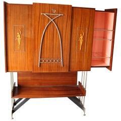 Midcentury Italian Dry Bar Cabinet, Drinks Cabinet, Cocktail Bar