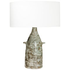 Midcentury Ceramic Table Lamp with Modern Form and Grey Color by JP Viot 1967