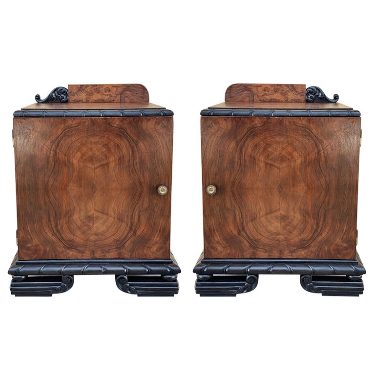 Pair of Art Deco Side Cabinets or Nightstands with Ebonized Base For Sale