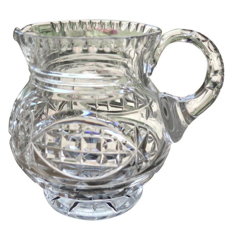 William IV Water Jug or Pitcher Crystal Cut-Glass, Anglo-Irish, circa 1835 For Sale