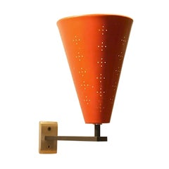 Italian Minimalist Perforated Metal Cone Sconce, 1950s