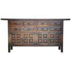 Catalan Spanish Baroque Carved Walnut Tuscan Six Drawers Credenza or Buffet