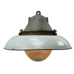 White Enamel Vintage Industrial Cast Iron Holophane Glass Pendant Lamp
