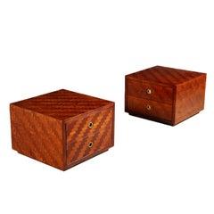 Pair of Nightstands Veneered Wood Vintage Italy, 1970s