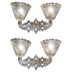 Pair of Murano Sconces by Seguso, 1940s