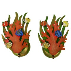 Pair of Coral Nautical Sconces