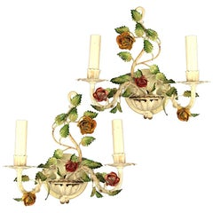 Pair of Italian Tole Roses Double Arm Sconces