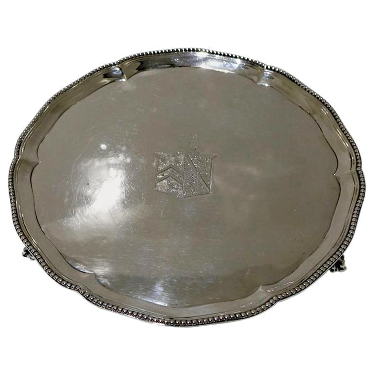 Antique George III Sterling Silver Salver London 1781 Pratt & Humphreys For Sale