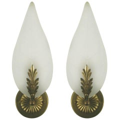 Midcentury Frosted Glass Leaf Sconce