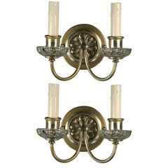 Pair of Silver Plated Crystal Double Arm Sconce