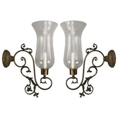 Pair of Large Scale Scrolled-Arm Hurricane Sconces