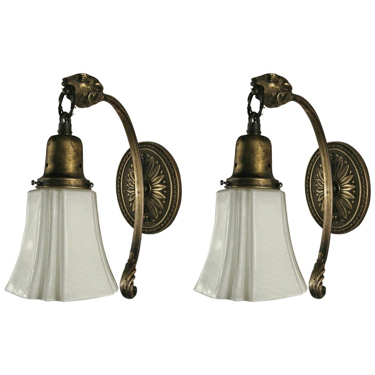 Pair of 1920s Ram Sconces For Sale