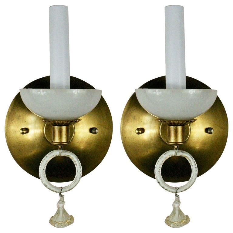 Pair of Murano Midcentury Opaline Glass Sconce For Sale