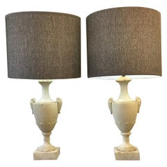 Neoclassical Alabaster Italian Table Lamps
