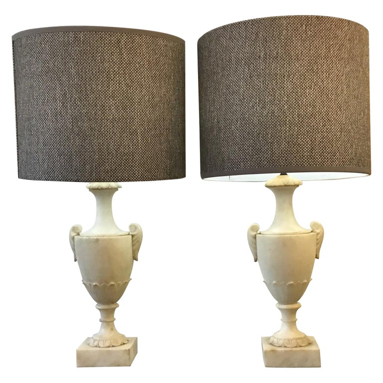 Neoclassical Alabaster Italian Table Lamps For Sale