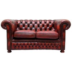 Chesterfield Real Leather Two-Seat Sofa by Springvale in Original Design Very