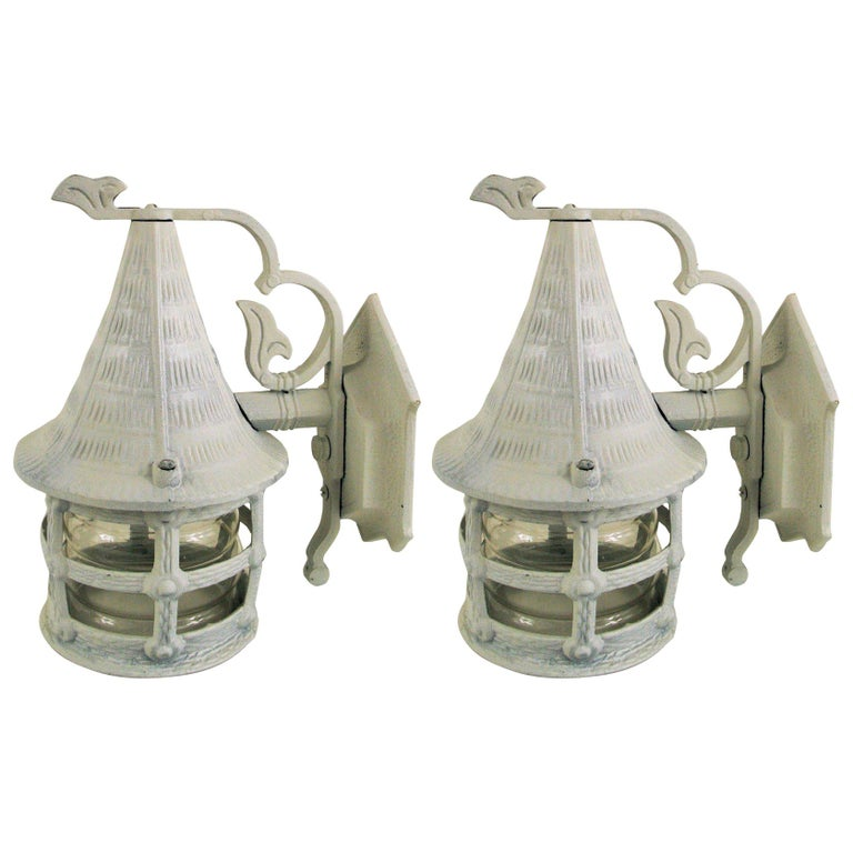 Pair of Nautical Lantern Sconce For Sale