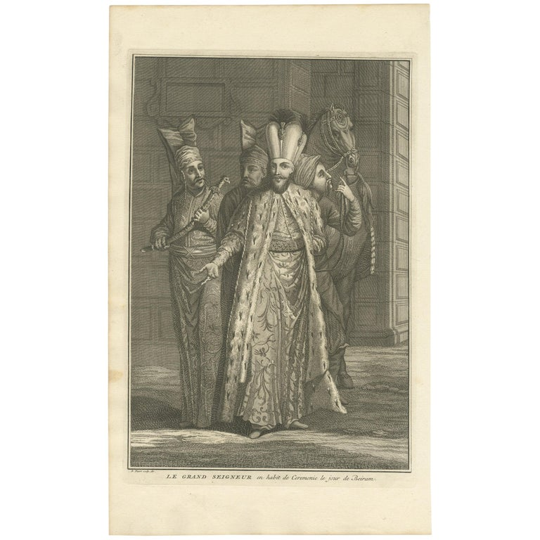Antique Portrait of the Great Lord on the Day of Bayram by Picart, circa 1725 For Sale