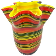 Multicolored Swirl Glass Murano Venetian Glass Vase by Fazzoletto