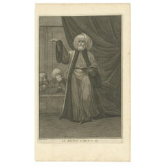 Antique Portrait of the Mufti by Picart, circa 1725
