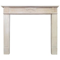 19th Century French Stone Louis XVI Style Fireplace Mantel