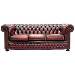 Chesterfield Sofa Leather Antique Vintage Couch English Real Leather