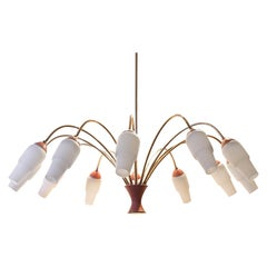 Italian 12 Arms Bicolored Brass and Glass Chandelier, 1950s