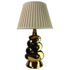 Mid Century Black and Gold Ceramic Table Lamp