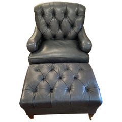 Supple Blue Leather Beckoning Club Chair and Ottoman by Edward Farrell