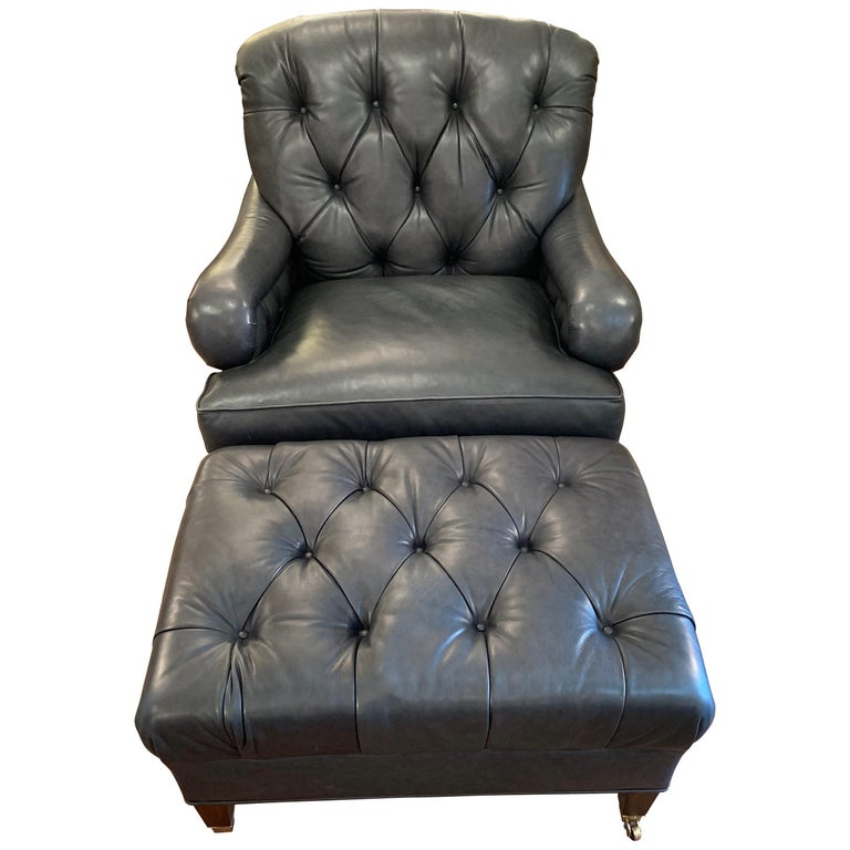 Supple Blue Leather Beckoning Club Chair and Ottoman by Edward Farrell For Sale