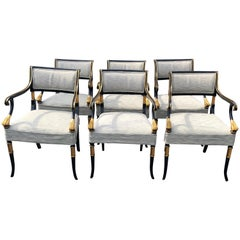 To Die for Set of 6 Karges Regency Black and Gold Armchairs Dining Chairs