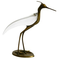 XL Mid Century Modern brass and glass bird heron  Luca Bojola for Licio Zanetti